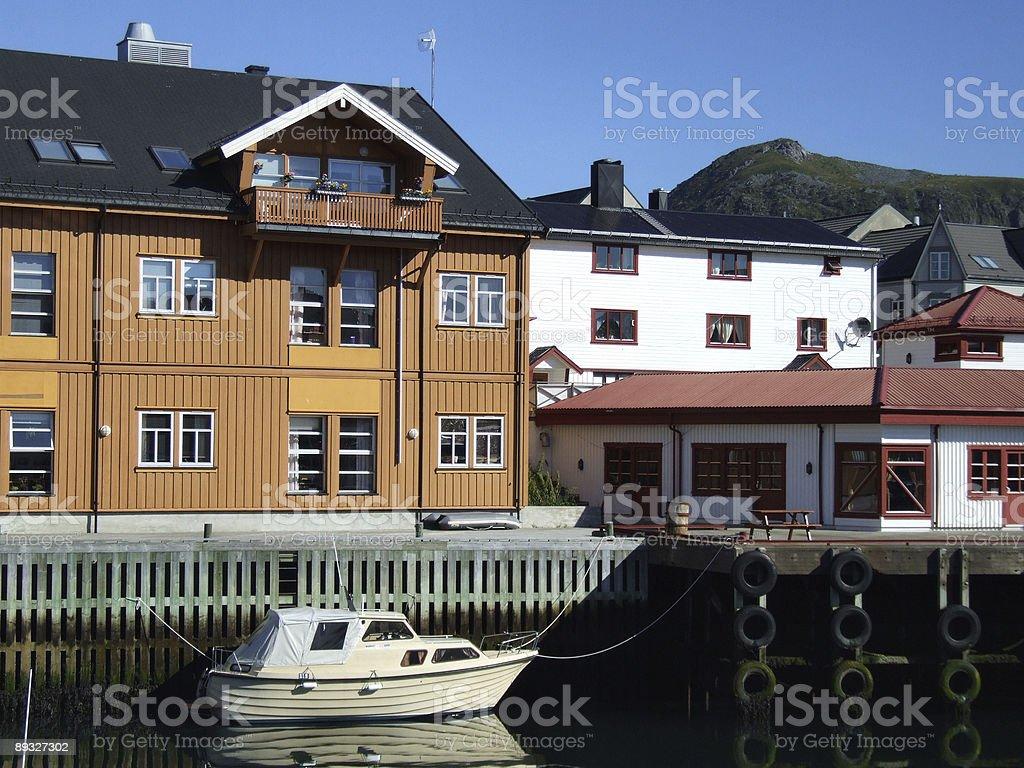Quaint fishing village in Norway stock photo