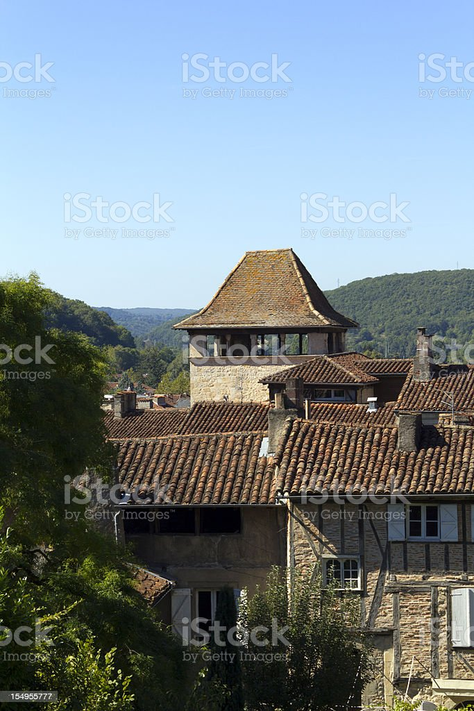 Quaint rooftops of Figeac, Lot, France, Europe stock photo