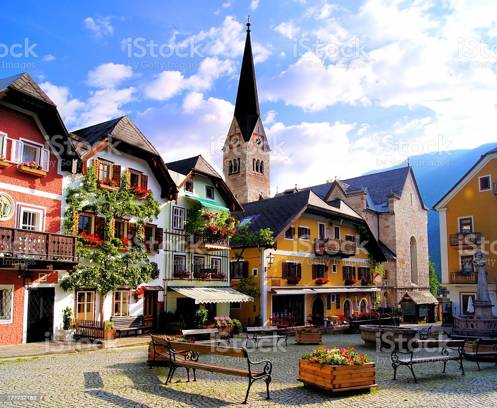 Quaint square in the Austrian village of Hallstatt stock photo