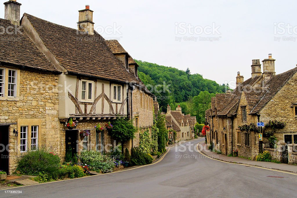 Quaint street in the English Cotswolds stock photo