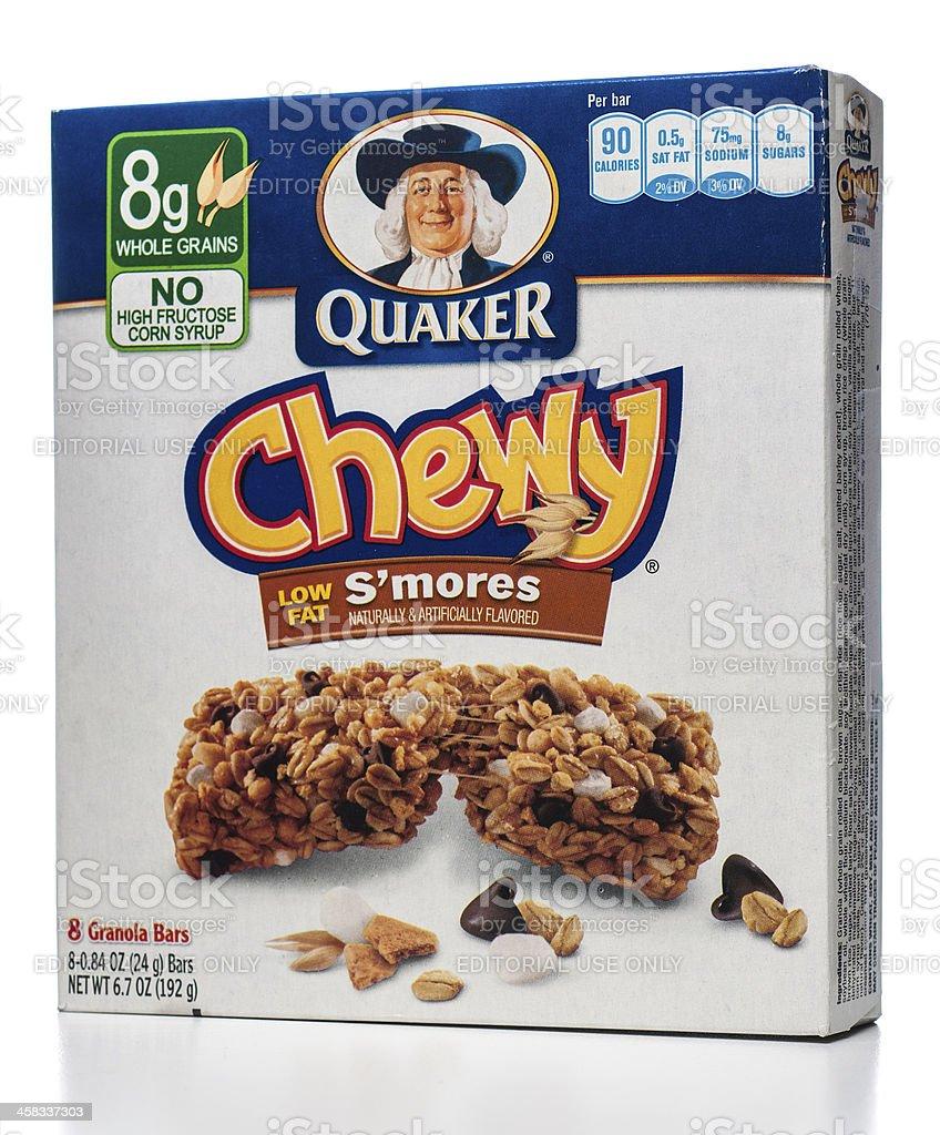 Quaker Chewy Low Fat granola bars box stock photo