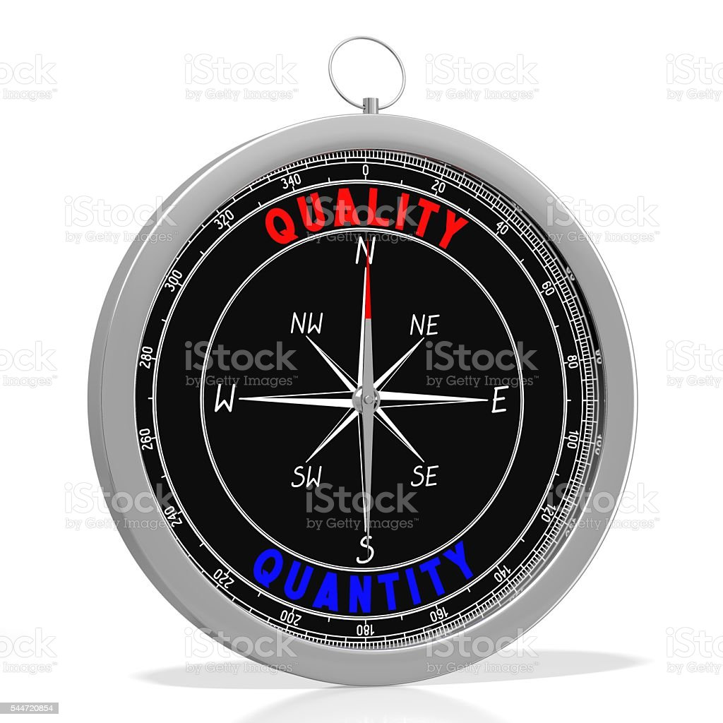 Quality and quantity - 3D compass stock photo