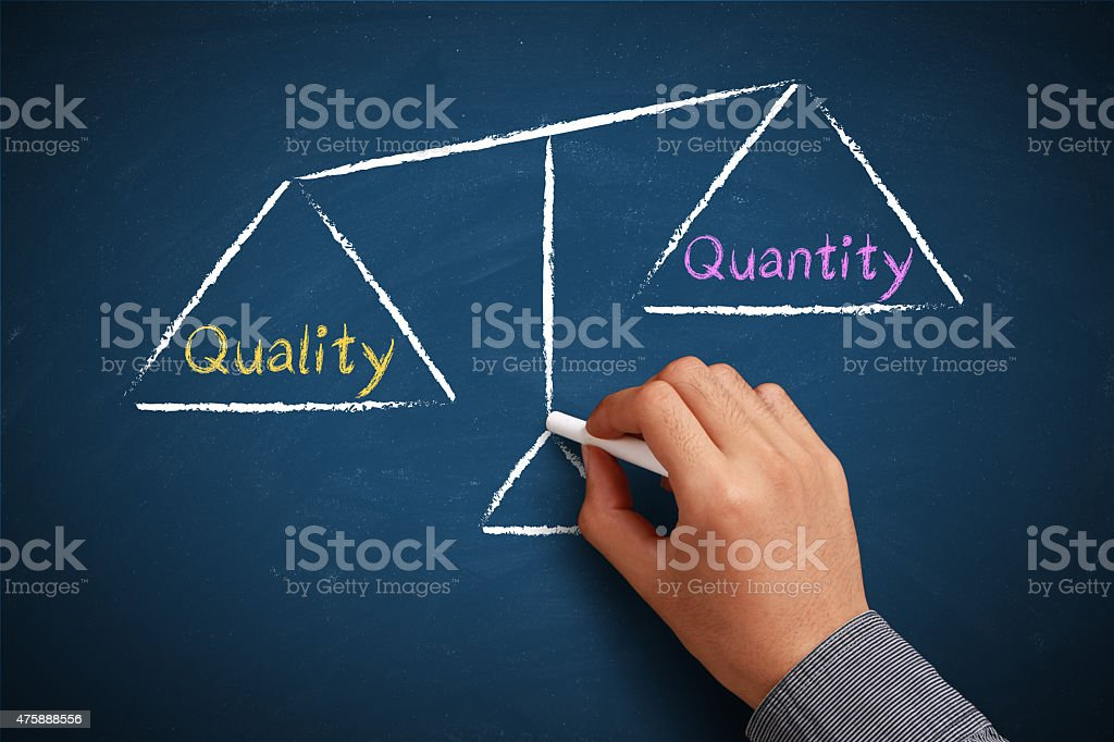 Quality and quantity balance stock photo