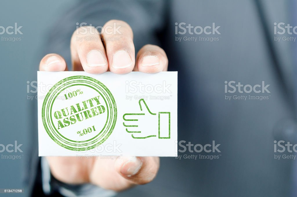 Quality assured certificate stock photo