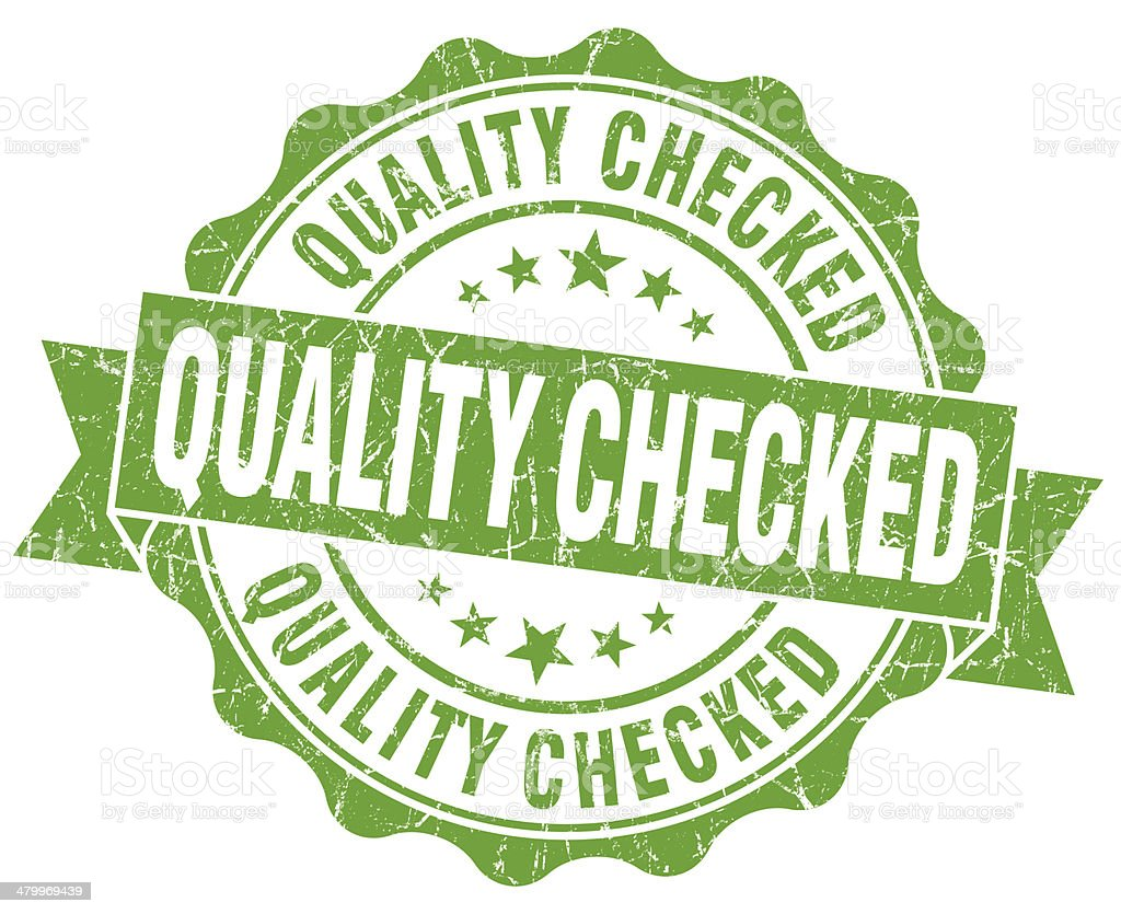 Quality checked grunge green vintage round isolated seal stock photo