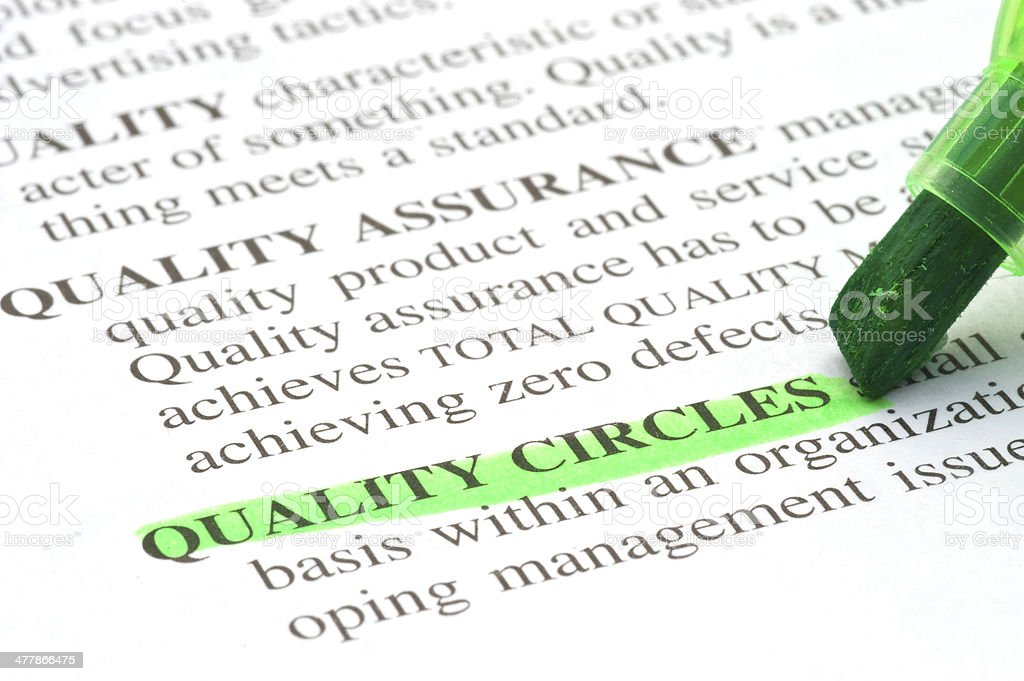 quality circles definition highligted in dictionary stock photo