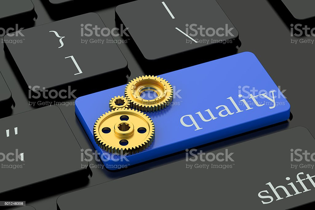 Quality concept on blue keyboard button stock photo