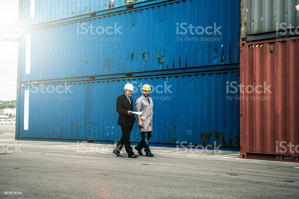 Quality control at commercial dock stock photo