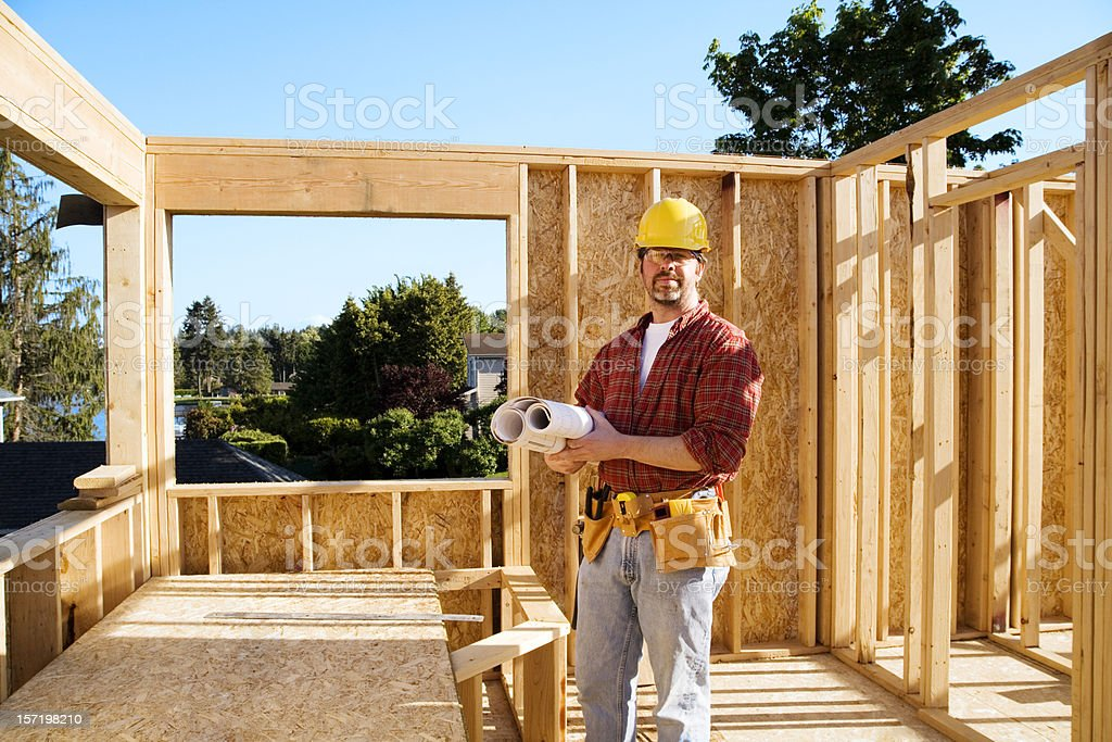 Quality control engineer new home construction royalty-free stock photo