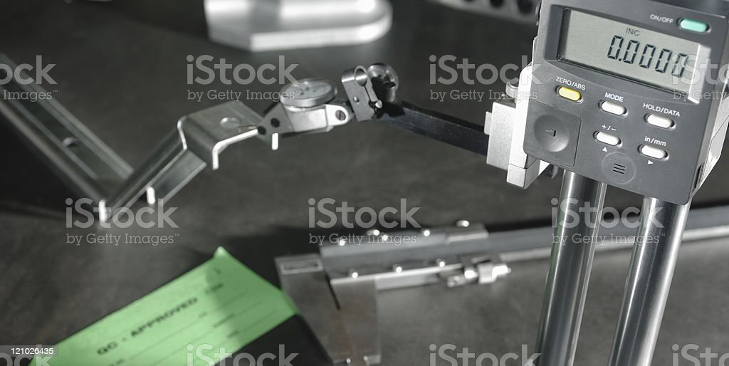 Quality control engineering gauge and tools stock photo