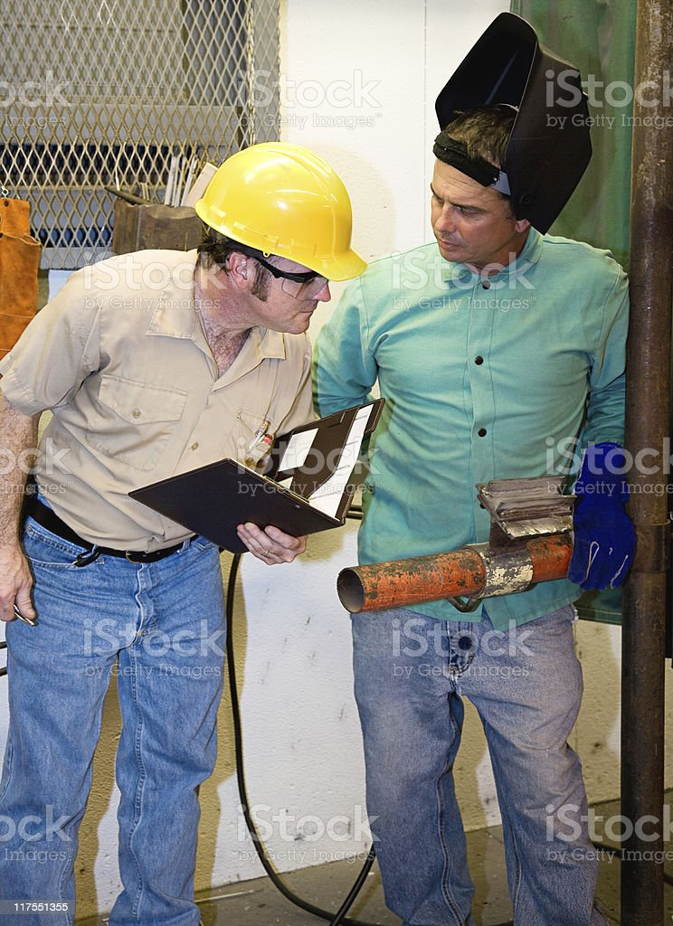 Quality Control in Metal Shop stock photo