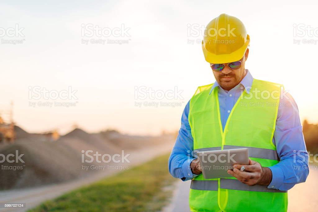 Quality control on construction site stock photo