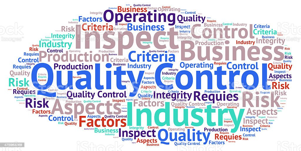 Quality control - word cloud stock photo