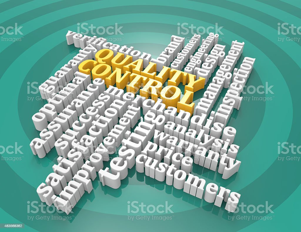 Quality control,guaranty,verification,optimal,3d,wordclouds stock photo