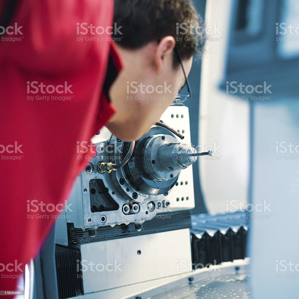 quality inspection during machining stock photo