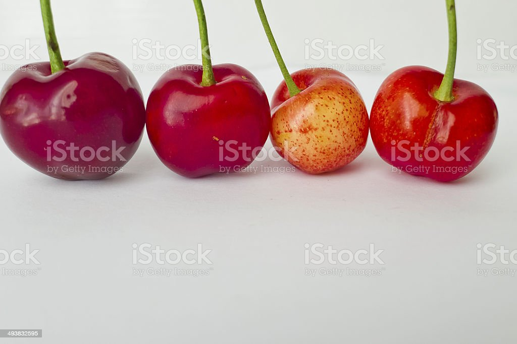 Quality of ripe cherries in row. royalty-free stock photo