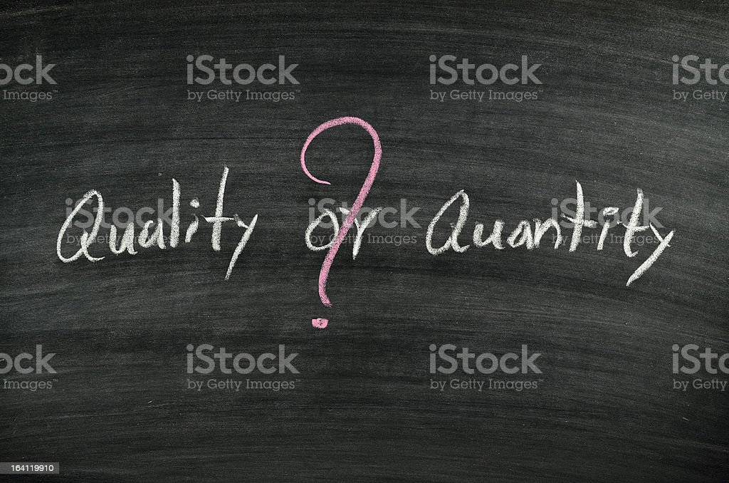 quality or quantity stock photo