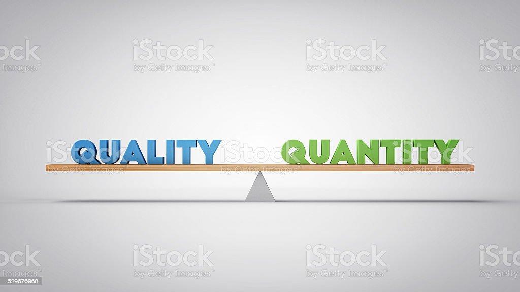 Quality Quantity Balance - Business Concept (3D Illustration) stock photo