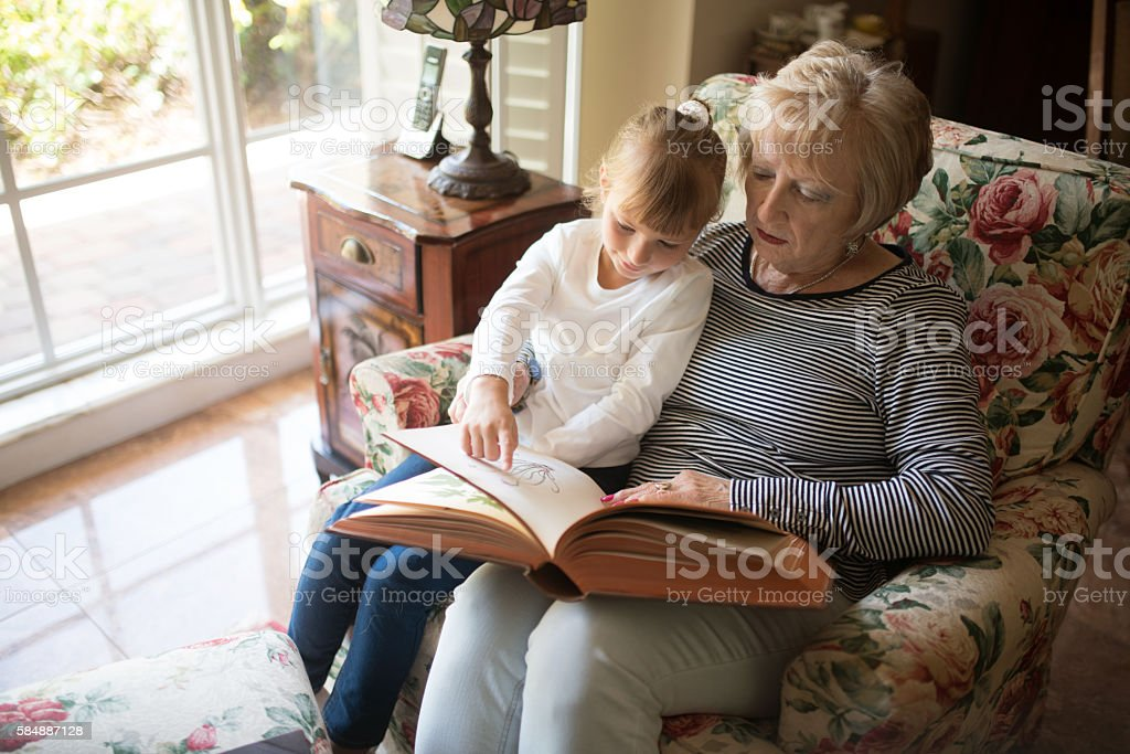 Quality time with grandma stock photo