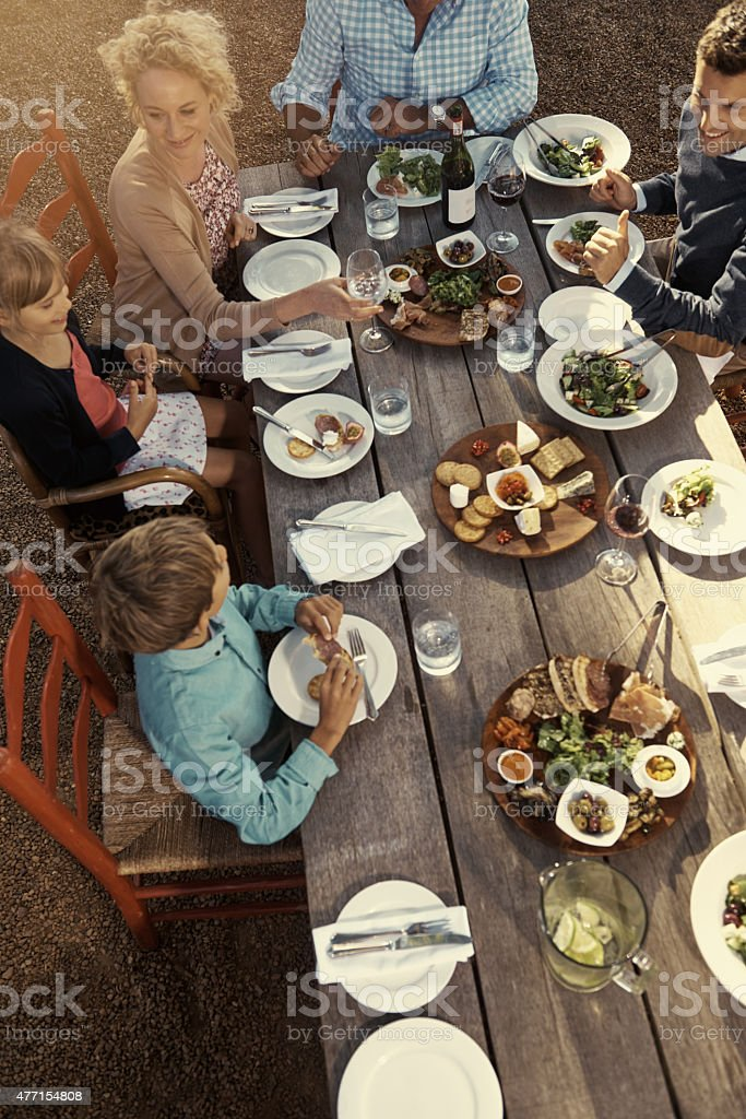 Quality time with great food on the menu stock photo
