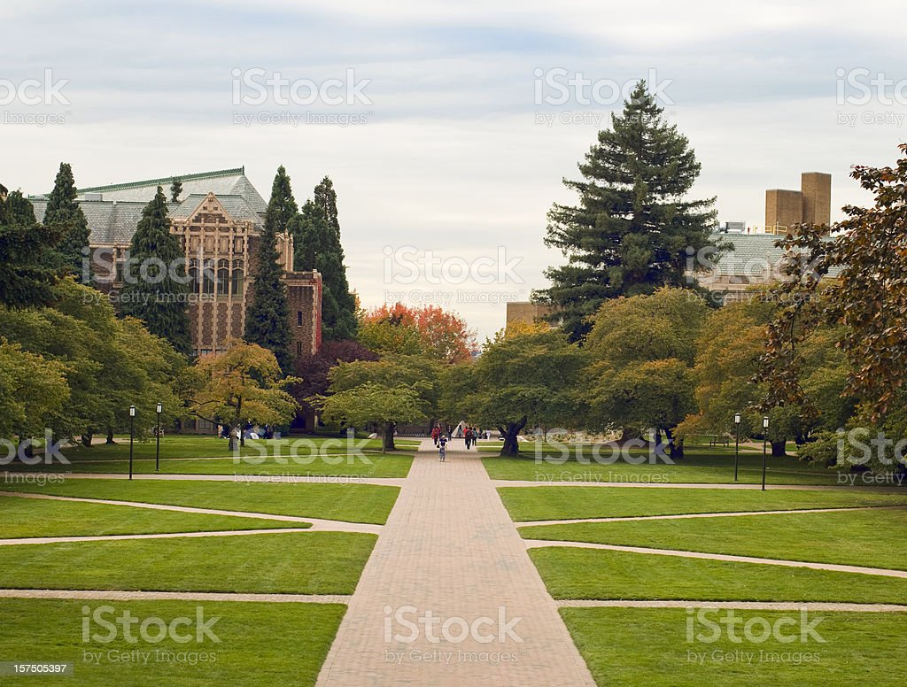 Quandrangle lawn at the University of Washington stock photo