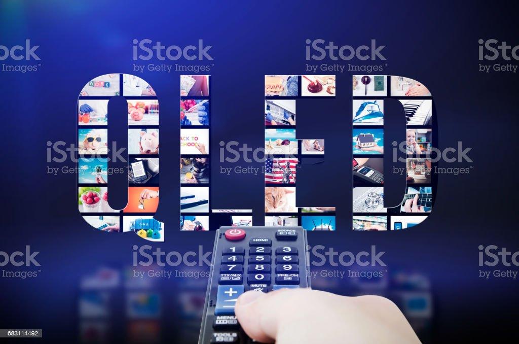 QLED quantum dot tv display innovation technology stock photo