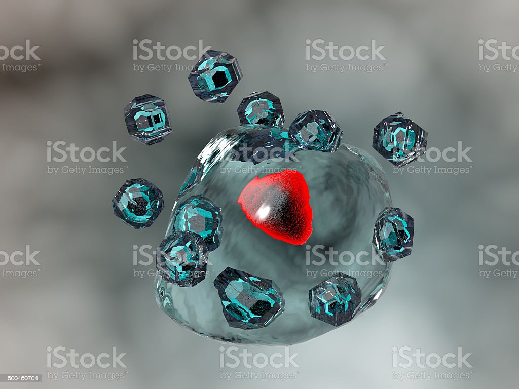 Quantum Dots Nanoparticles entering a body cell. Genetic therapy. stock photo