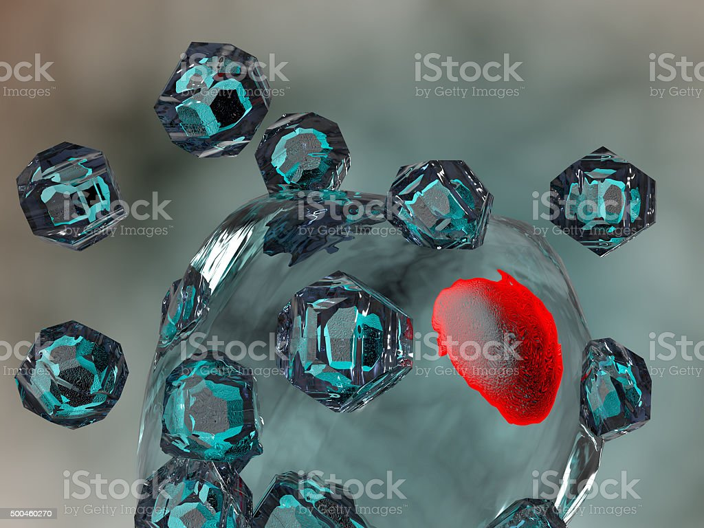 Quantum Dots Nanoparticles entering a human cell. Gene therapy. stock photo