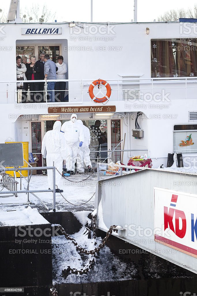 Quarantine on Dutch cruiseship BELLRIVA stock photo