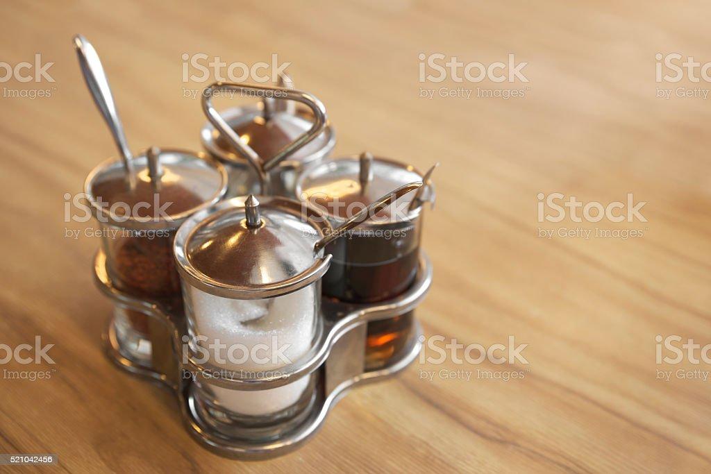 Quard glass container stock photo