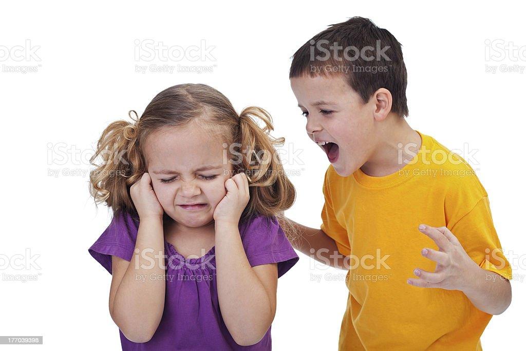 Quarreling kids stock photo