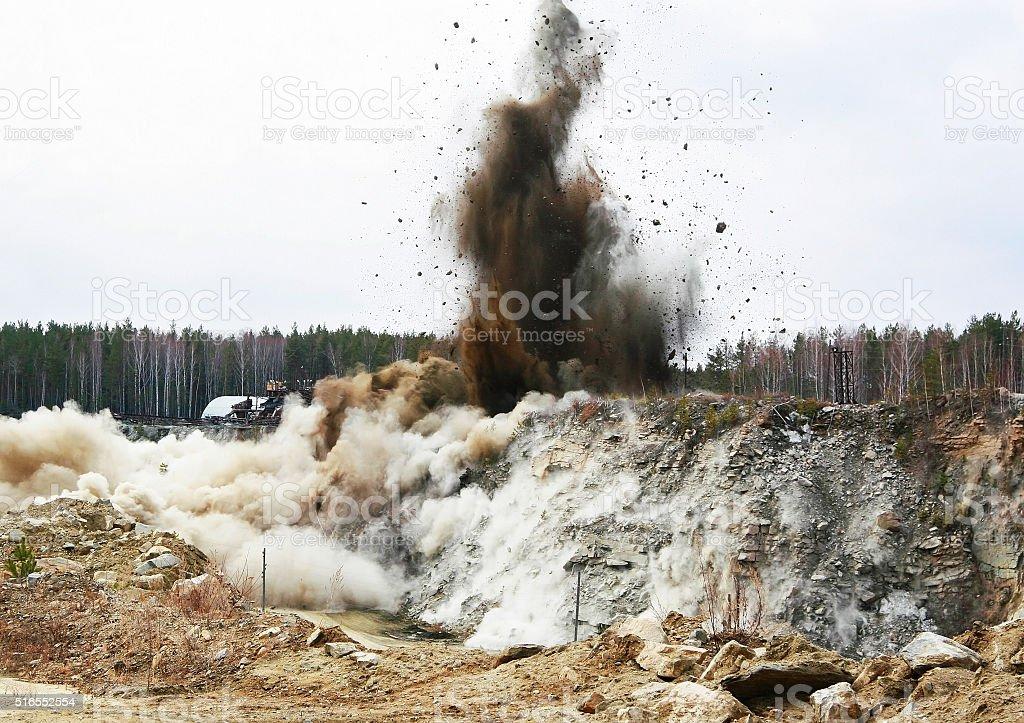 Quarry blasting stock photo