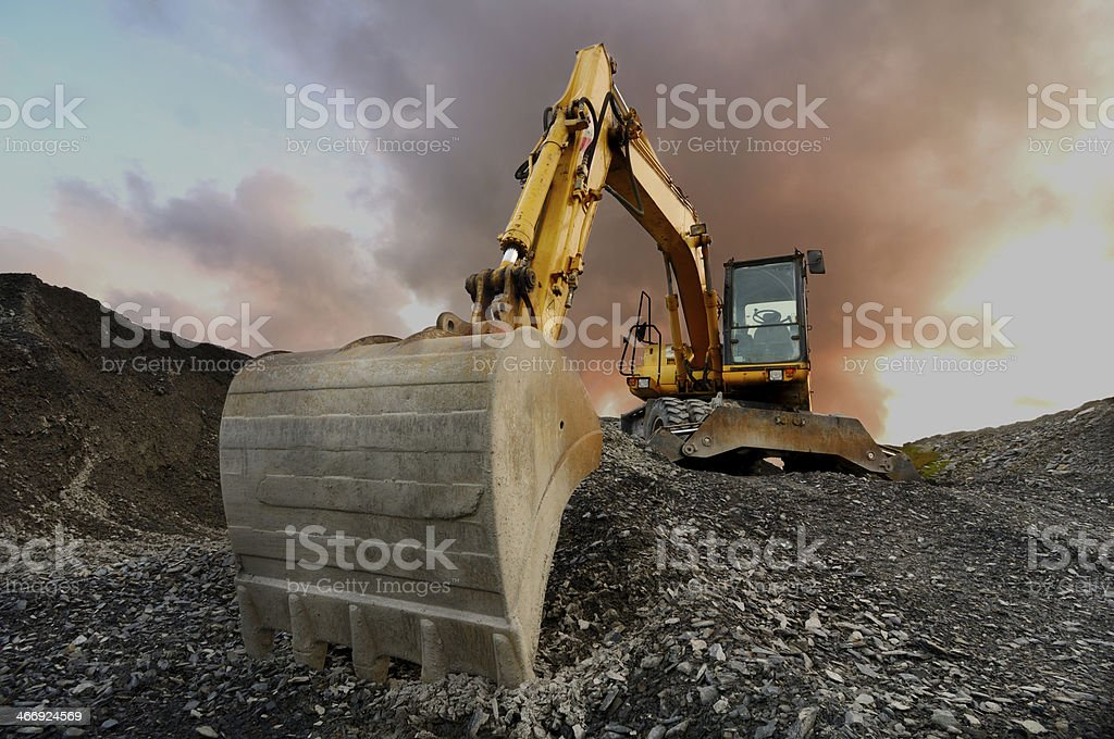 Quarry excavator stock photo