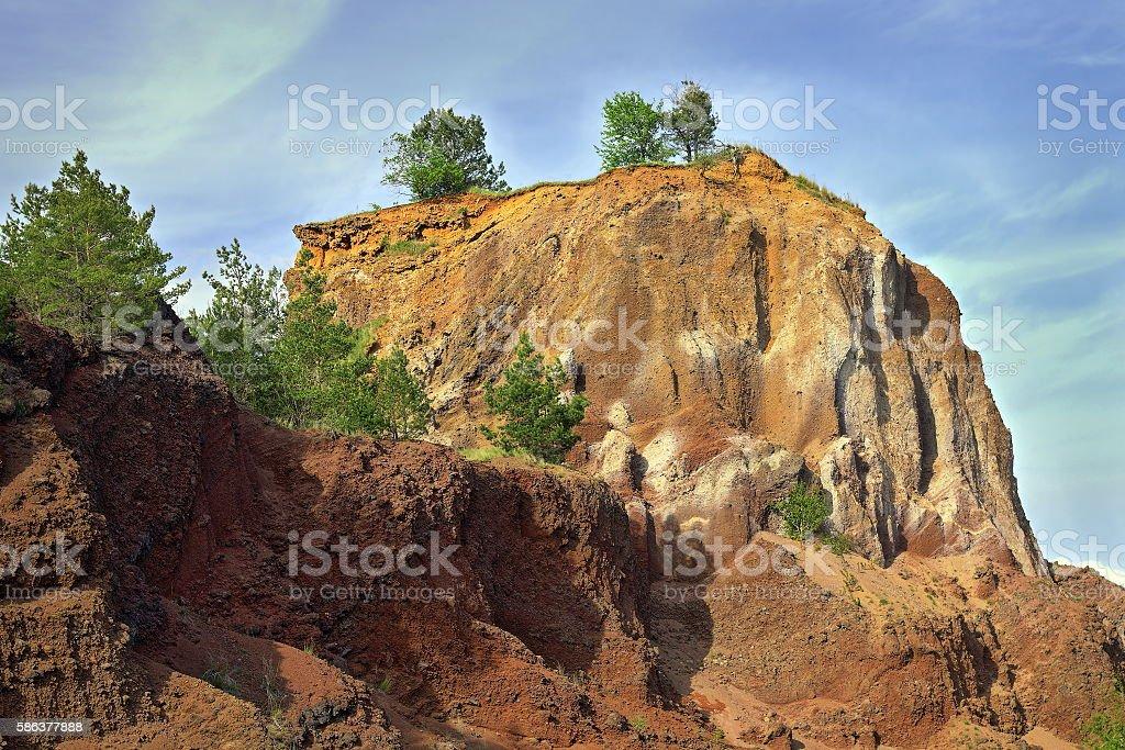 quarry in volcanic stone stock photo