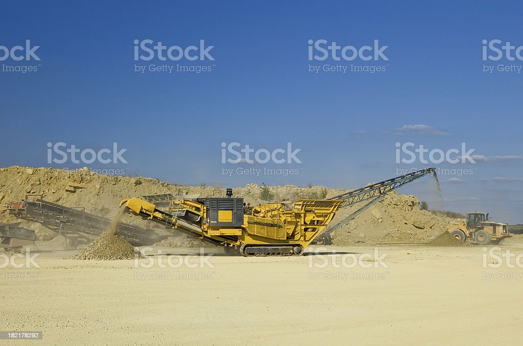 Quarry Rock Crushing and Sorting Operation stock photo