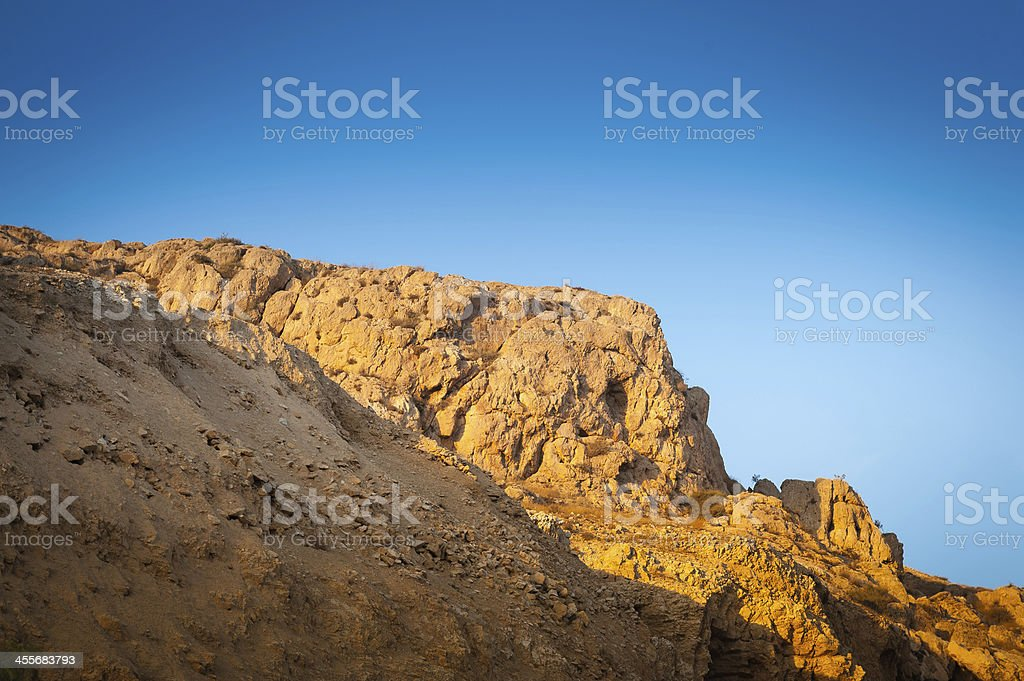 Quarry rocks and sky stock photo