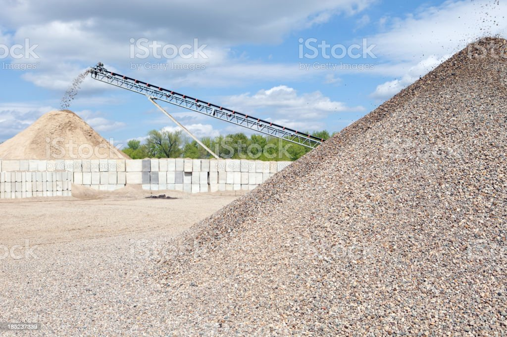 Quarry Screening Conveyors Depositing Sorted Sand and Stones stock photo
