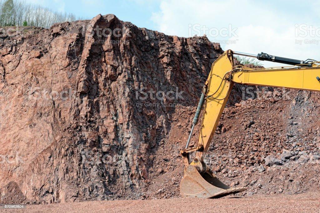 Quarry view. excavator shovel in a quarry stock photo
