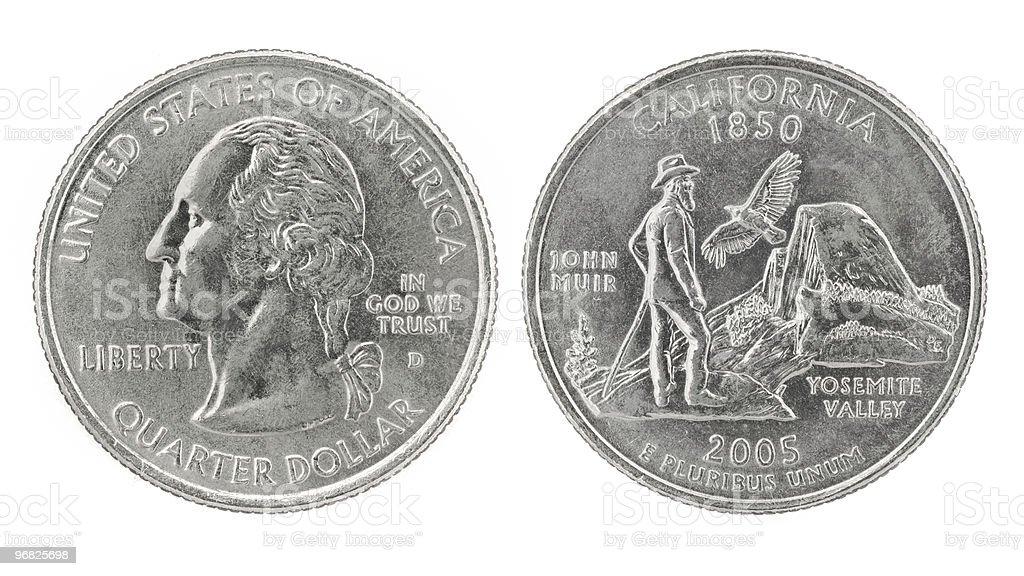 Quarter Dollar California royalty-free stock photo