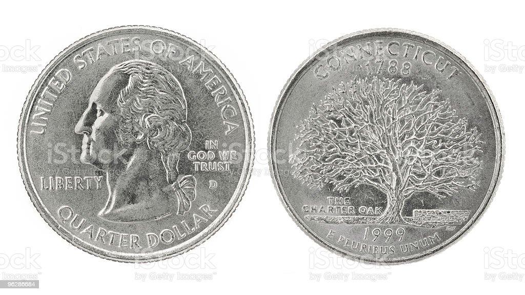 Quarter Dollar Connecticut royalty-free stock photo