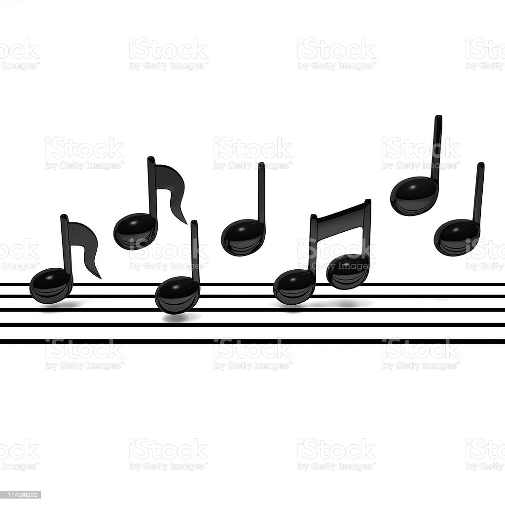 Quarter Note + Staff Notation Front View stock photo