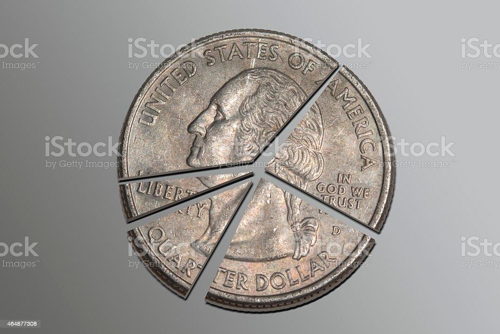 Quarter Pie Chart stock photo