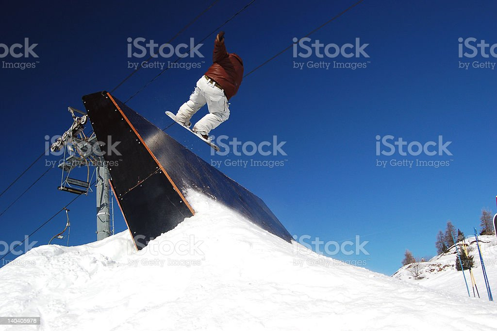 Quarter Pipe Snowboarder 4 stock photo