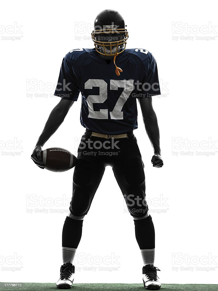 quarterback american football player man silhouette stock photo