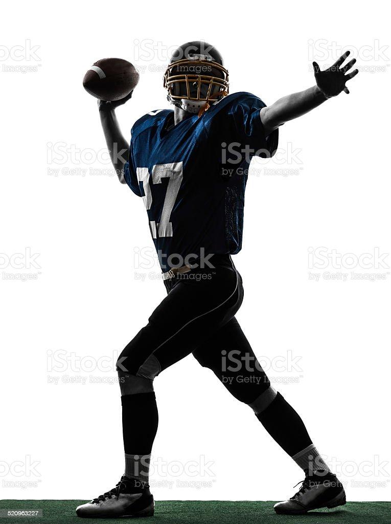 quarterback american throwing football player man silhouette stock photo