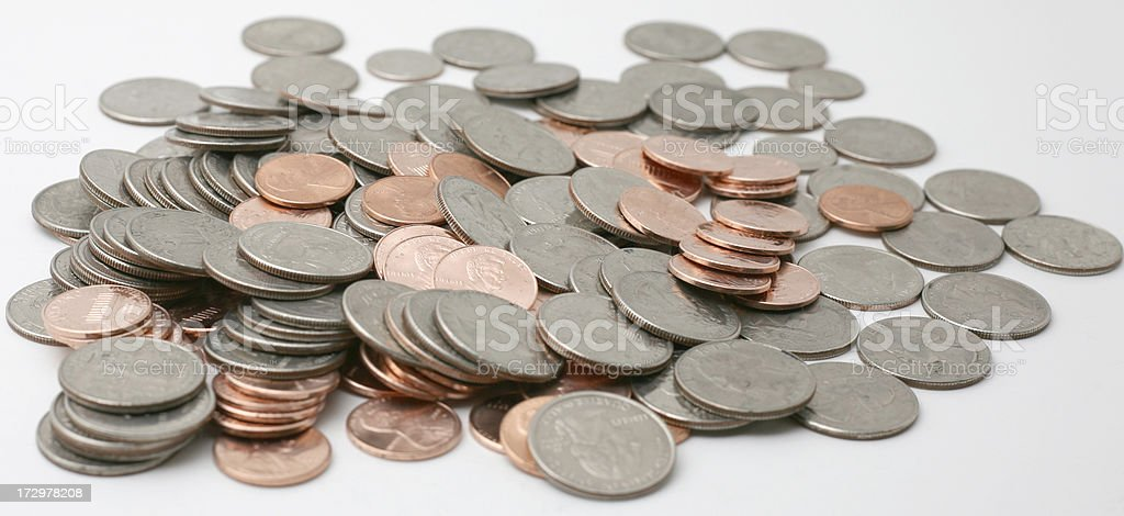 Quarters and Pennies stock photo