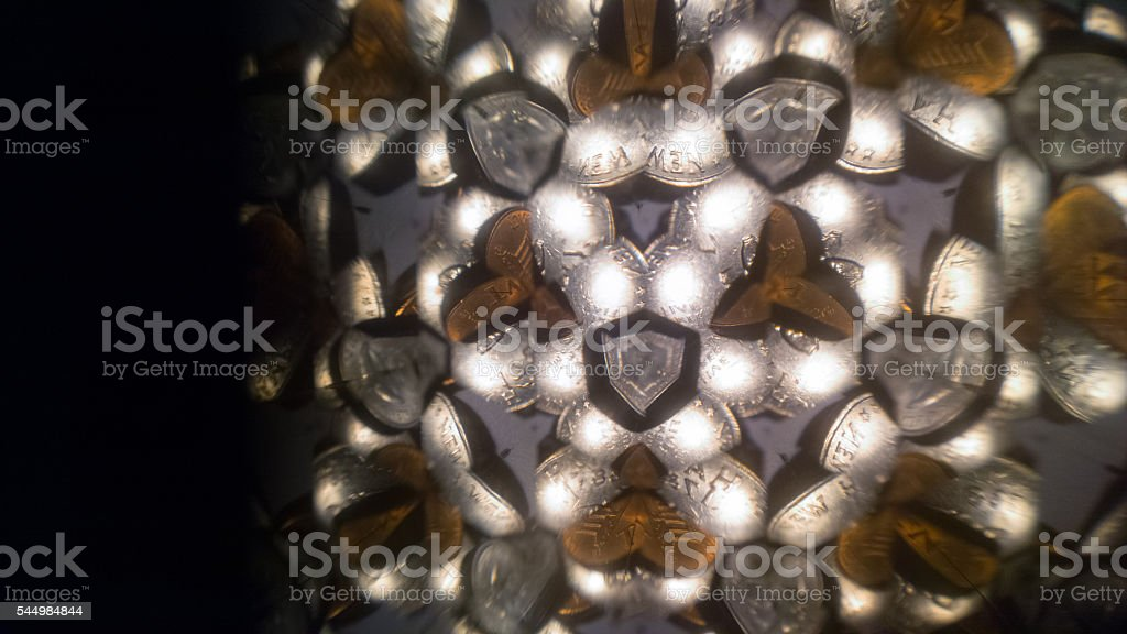 Quarters & Pennies through a Prism 3 stock photo