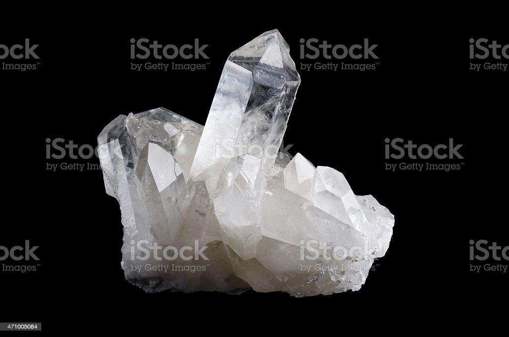 Quartz Crystal Cluster Horizontal on Black Background stock photo