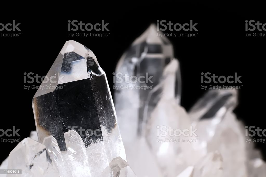 Quartz crystals on black stock photo
