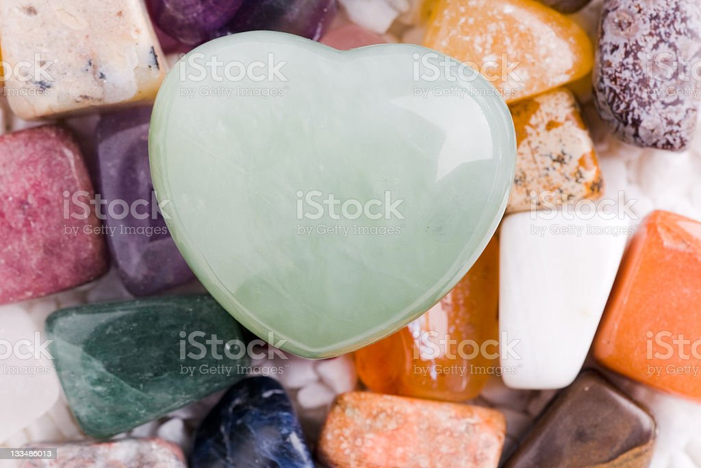 quartz mineral heart stock photo